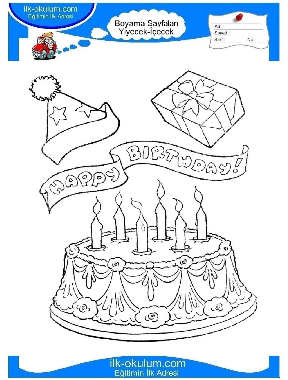 Открытка раскраска с днем рождения торт