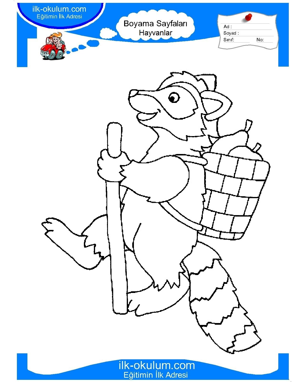 Free Printable Raccoon pictures for kids to color