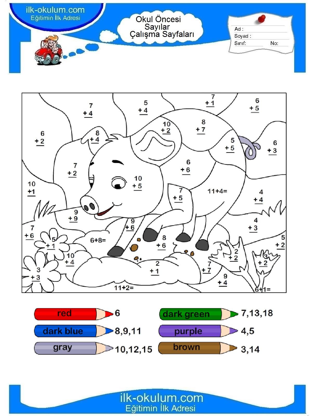 Математические раскраски на английском для детей